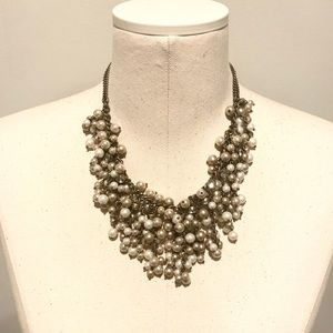 LOFT Chunky Pearl & Rhinestone Cluster Necklace